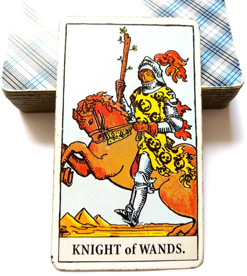 Knight of Wands Tarot Card. Is about Sudden Arrival , Great at Beginnings, Unfinished Projects, Personal Freedom. Be Bold and Brave royalty free stock images