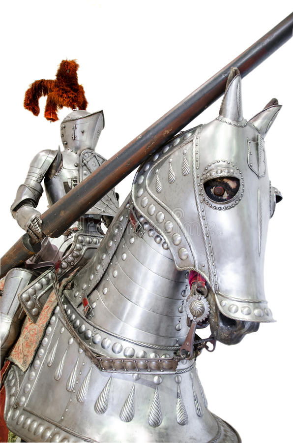 Knight on warhorse on white isolated stock photo