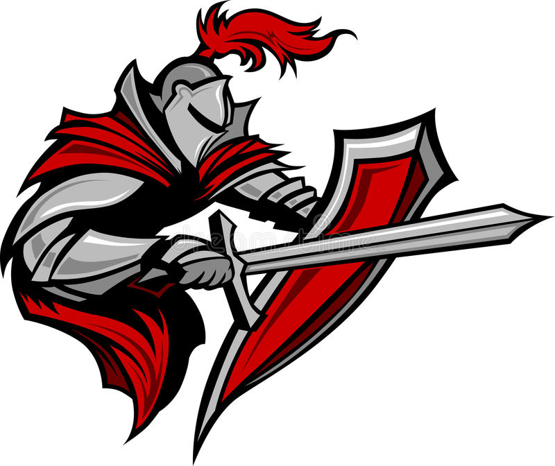 Knight Warrior Mascot with Sword and Shield stock illustration