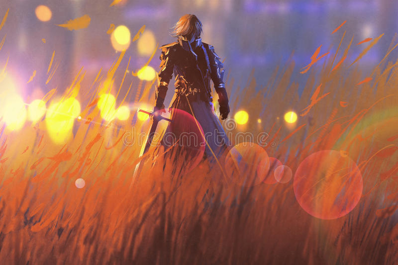 Knight warrior standing with sword in field royalty free illustration