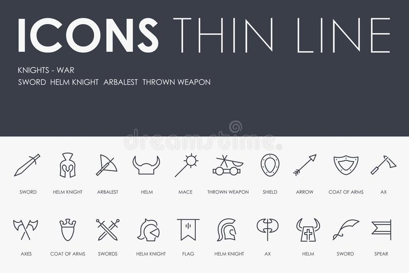 KNIGHT-WARS amincissent la ligne icônes illustration de vecteur