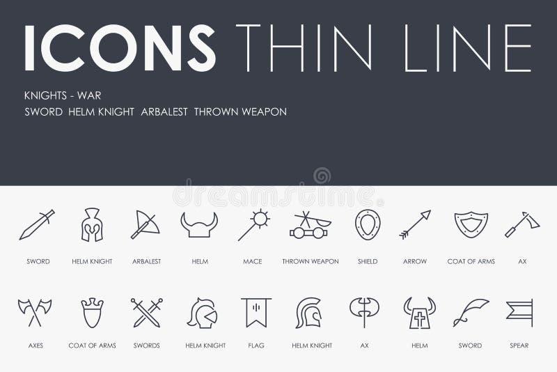 KNIGHT-WARS assottigliano la linea icone illustrazione vettoriale