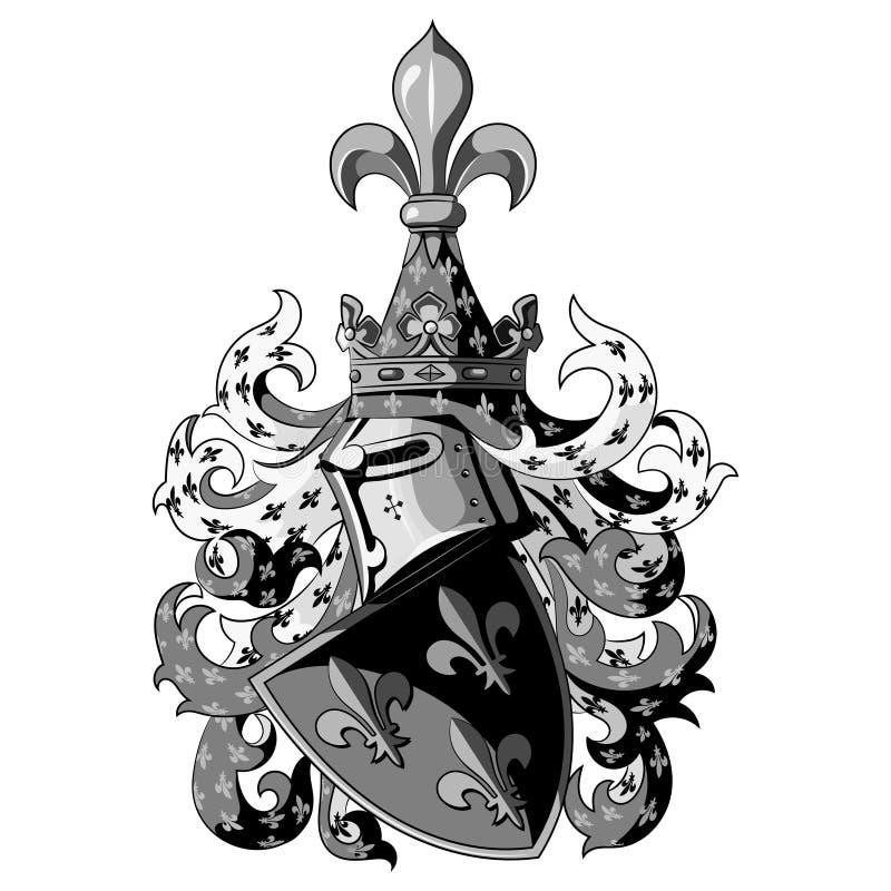 Knightly герб Heraldic средневековые шлем и экран рыцаря иллюстрация вектора
