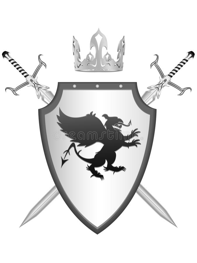 Knightly armour. Royal knightly armour with the arms a griffin in a royalty free illustration