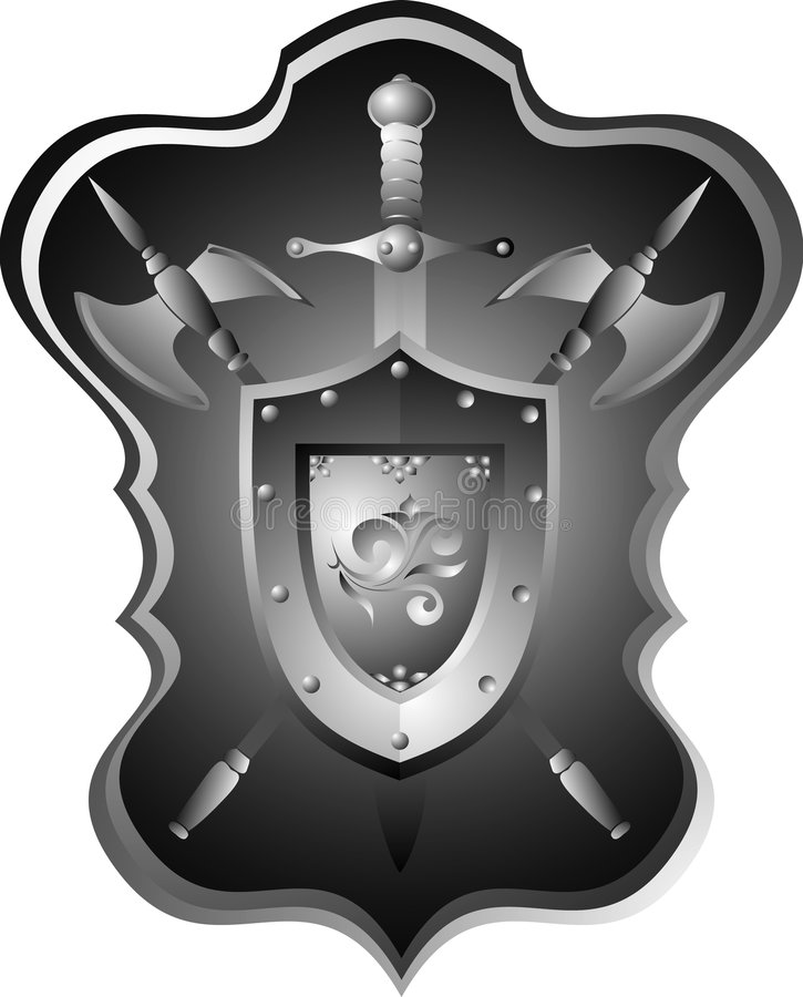 Knightly armour board, sword, helmet. Historical armour of the ancient knight collected in a panel on a wall stock illustration