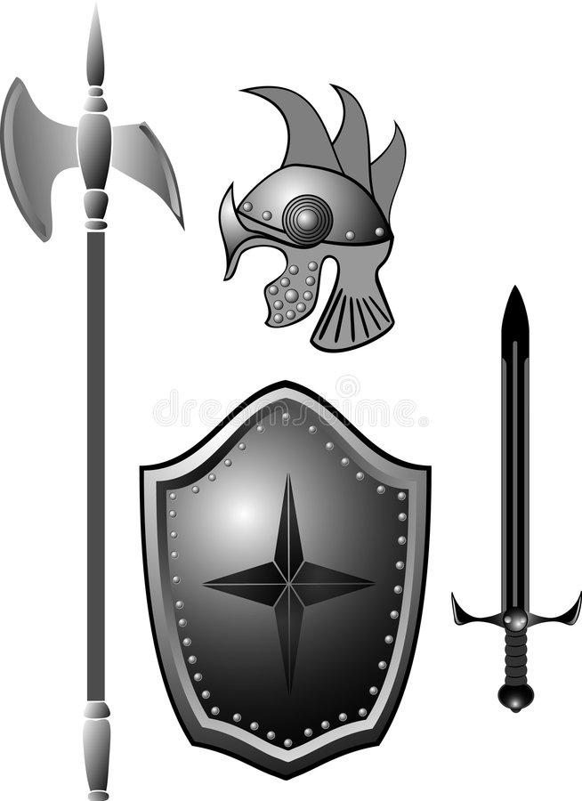 Knightly armour board, sword, helmet. Historical armour of the ancient knight collected in a panel on a wall vector illustration
