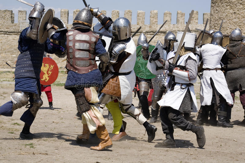 Knightly fight stock photos