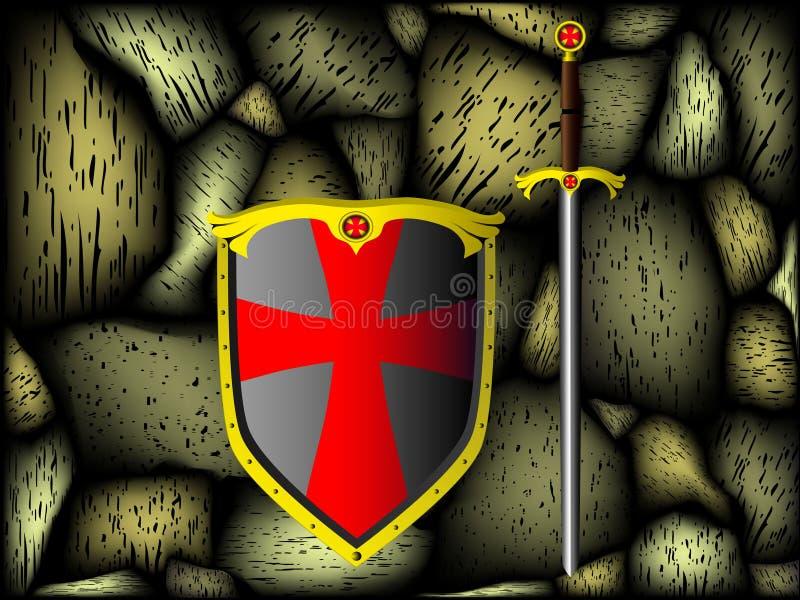 Knightly Rüstung, Steinwand vektor abbildung