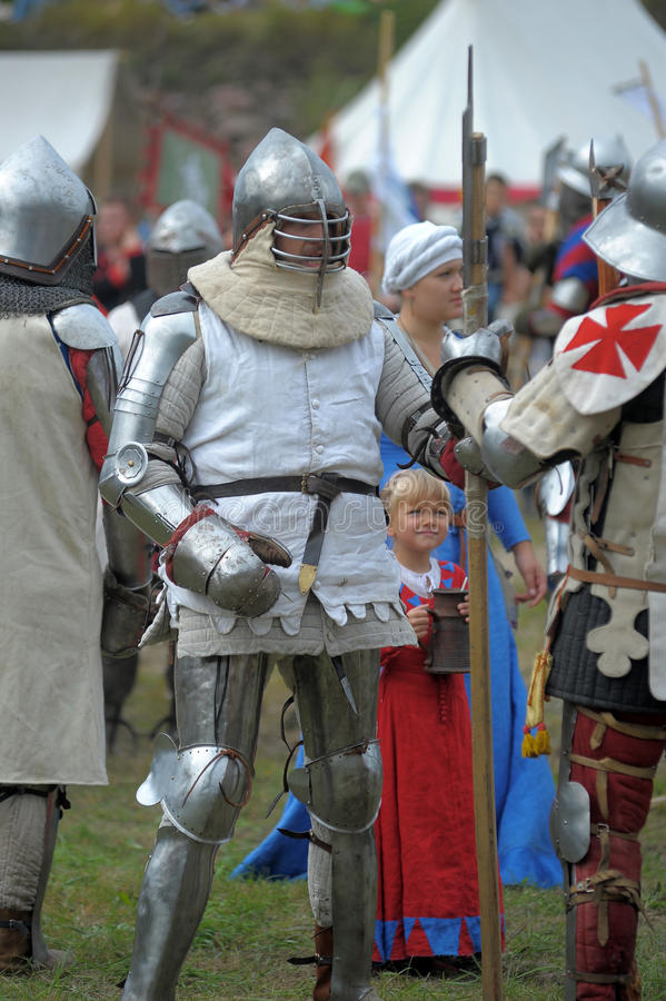 Knights armor at the historic festival. St. Petersburg, Russia stock photo