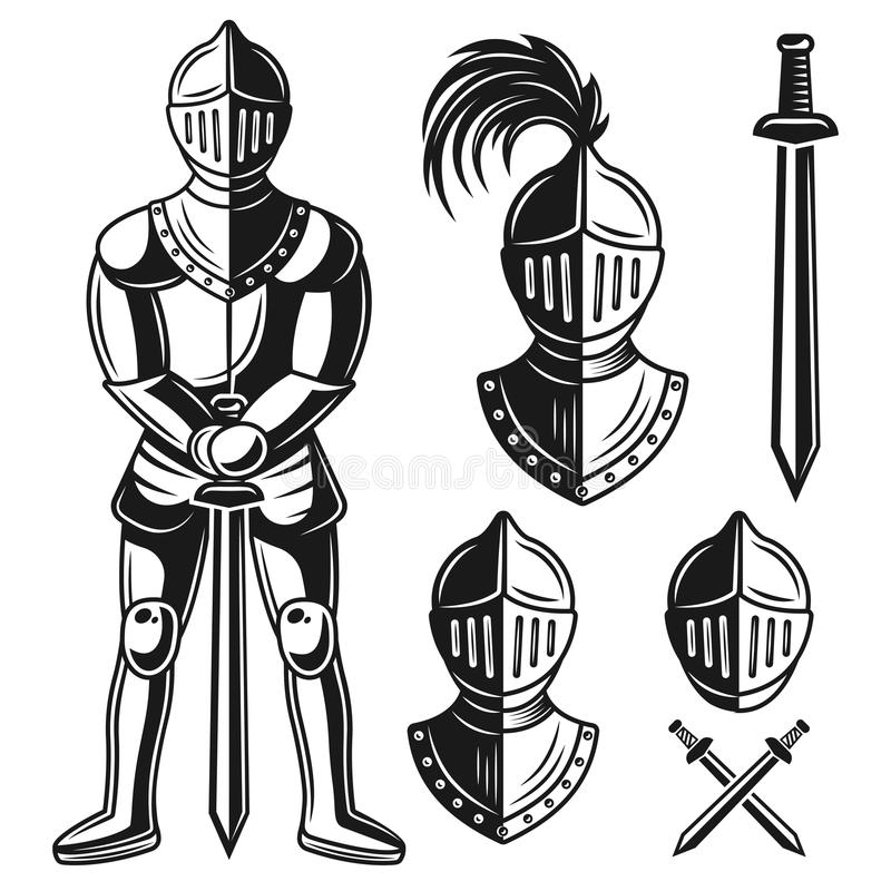 Knights armour vector objects and design elements. Knights armour set of vector objects and design elements in vintage monochrome style isolated on white royalty free illustration