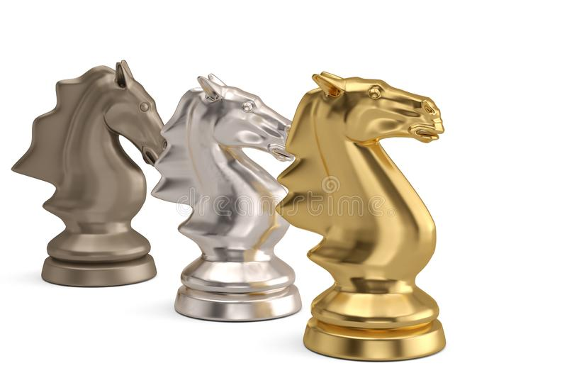 Knights chess piece on white background.3D illustration. royalty free illustration