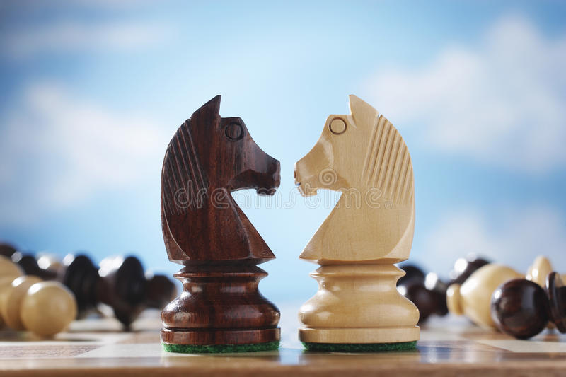 Knights On A Chessboard royalty free stock image