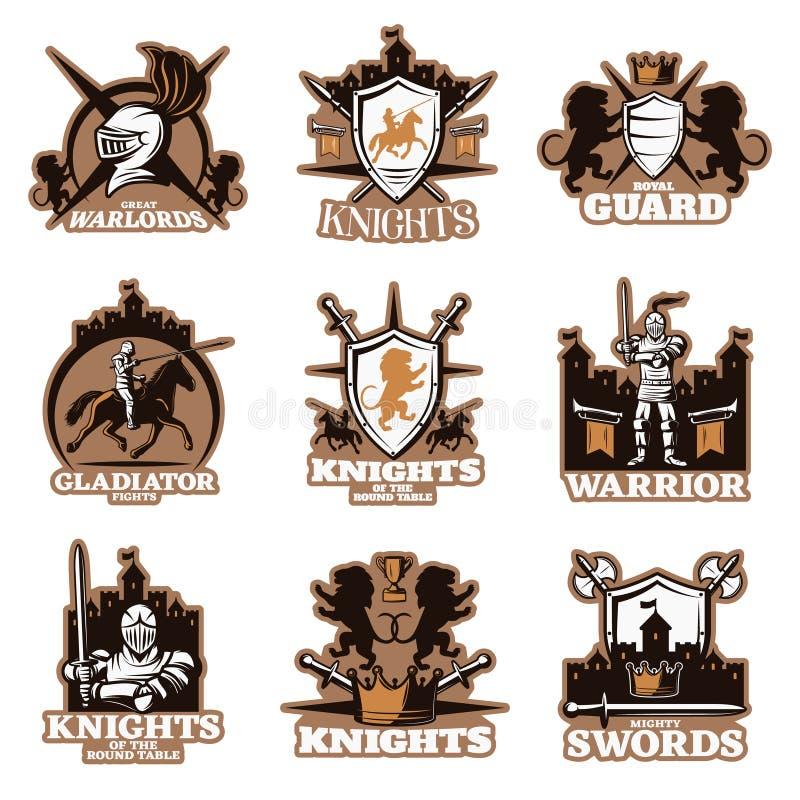 Knights Colored Emblems Stock Vector Illustration Of Helmet 77073978