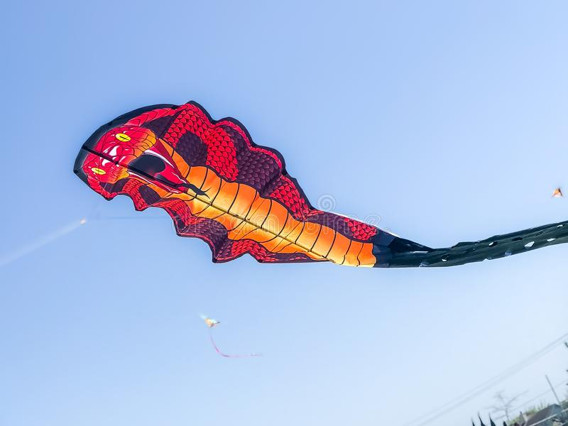 "Snake Kite at The Annual Kite Festival. Knights of Columbus 7th Annual ""Time to Fly"" Kite Festival SUNDAY APRIL 8, 2018 9:00am to 4:00pm stock image"