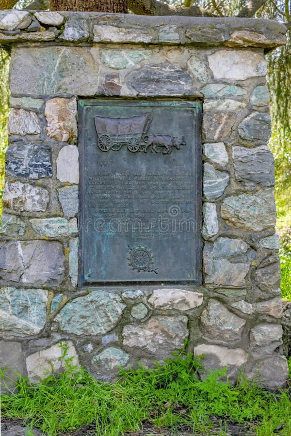 1849 Knights Ferry Stone Landmark. Knights Ferry is an unincorporated historic community in Stanislaus County, California, United States. Nestled in the royalty free stock photo