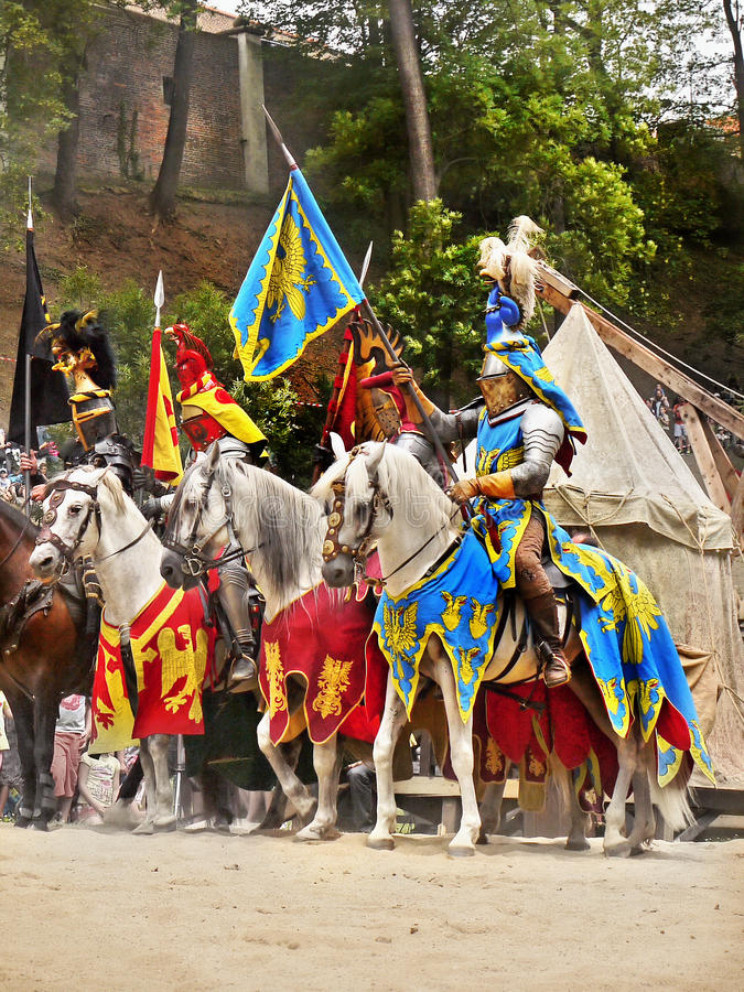 Medieval Knight Horse Riding, Prague Castle. Medieval Knights - horse riding in historic costume at Prague Castle. Czech Republic royalty free stock photo