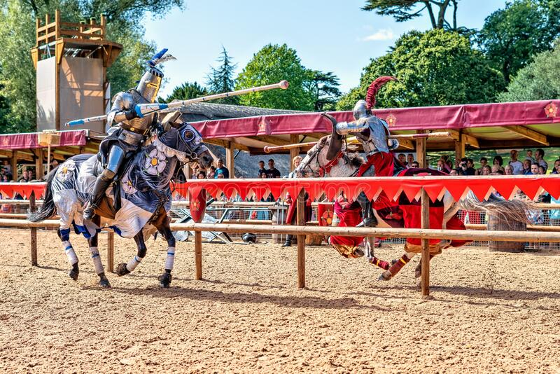 knights Jousting in Warwick Castle.. stock photo