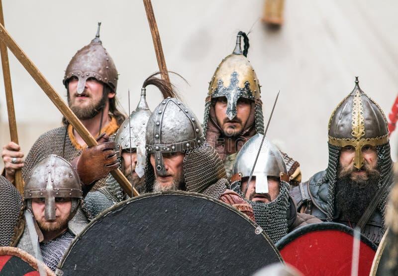 Knights vikings. Modern slavic warriors entering the battle. Medieval fest in the center Europe. June 25th 2016, Szczecin, Poland. Midsummer night (Kupala&#