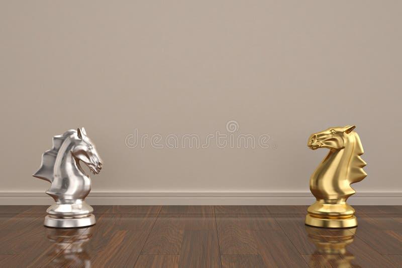 Knights a parte de xadrez na ilustração de madeira do assoalho 3D ilustração stock