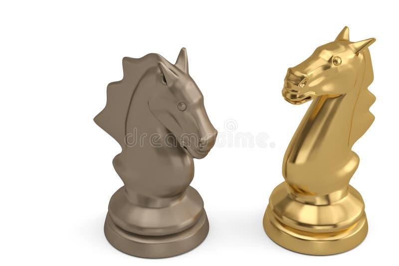 Knights a parte de xadrez no fundo branco ilustração 3D ilustração do vetor