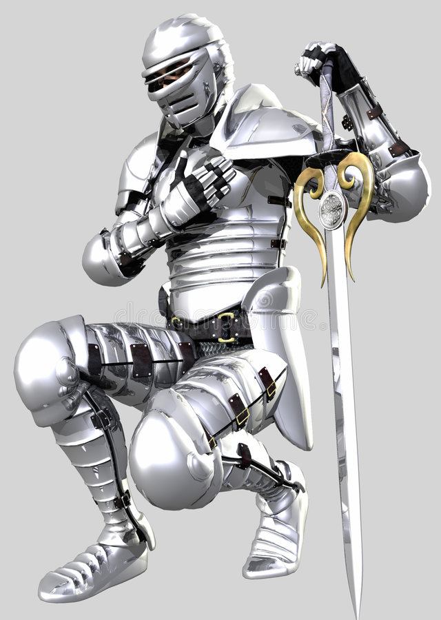 A Knights Pledge 03 - Shining Armour. An armoured knight in shining armour kneels to pledge his sword stock illustration