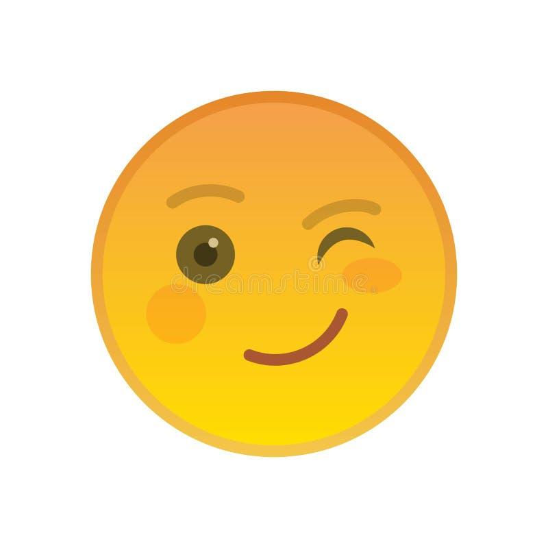 Knipogen emoticon geïsoleerd op witte achtergrond royalty-vrije illustratie