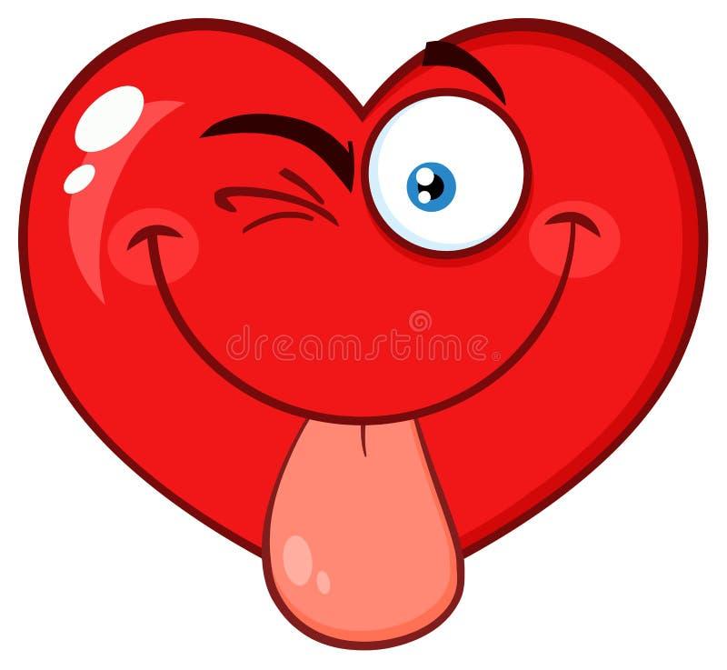 Knipogend Rood het Gezichtskarakter van Emoji van het Hartbeeldverhaal met uit het Plakken van Zijn Tong royalty-vrije illustratie