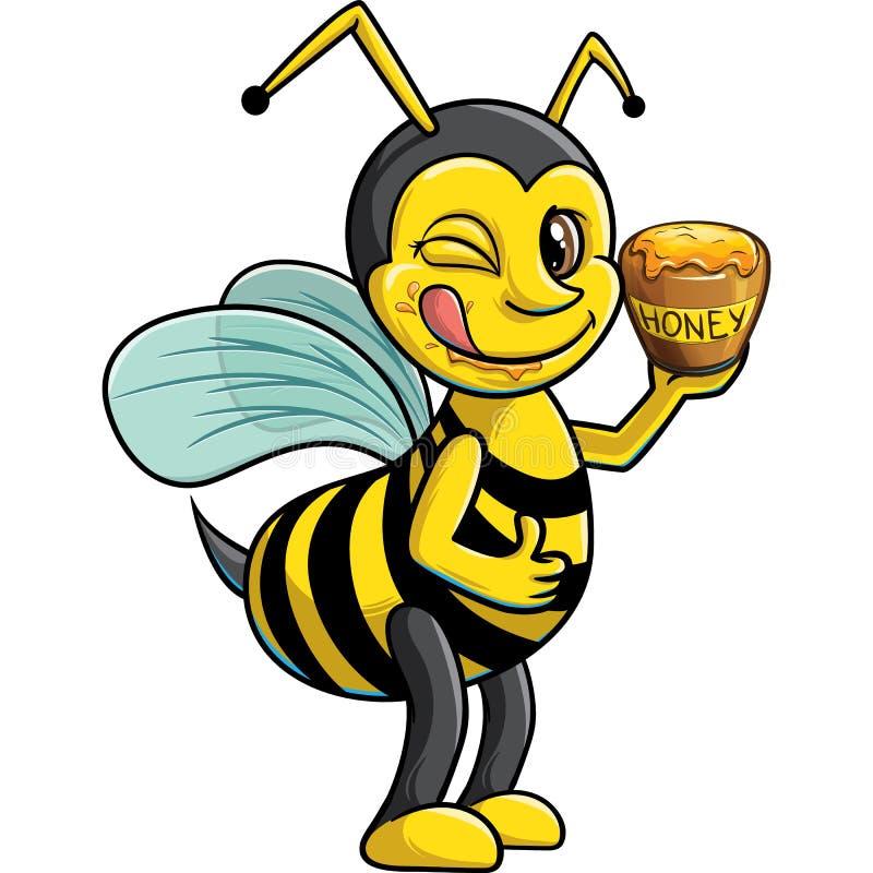 Knipogende bij met pot van honing vector illustratie