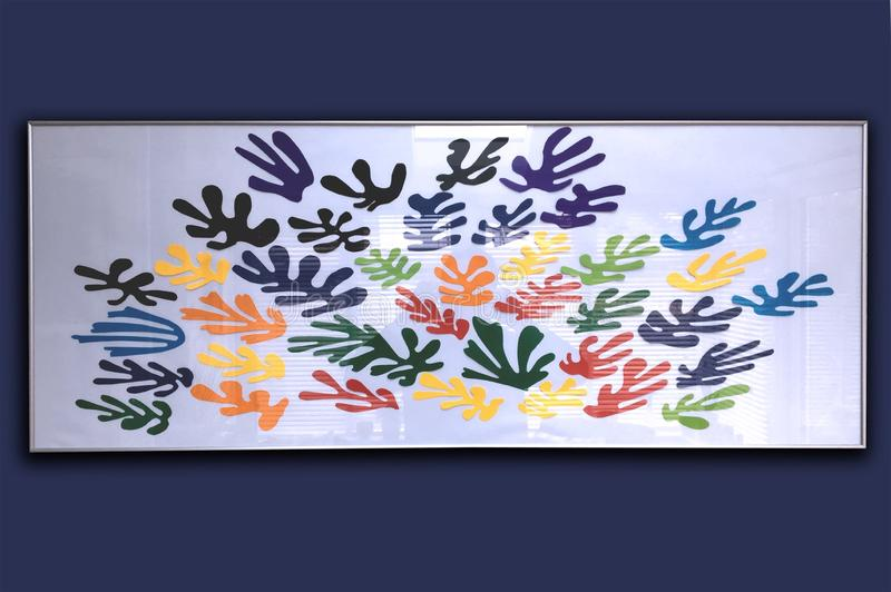 Knipsel kleurrijke kunst grafisch in blauwe stemming royalty-vrije stock foto's