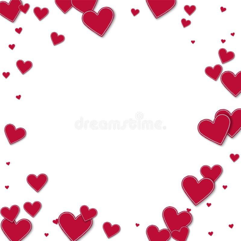 Knipsel rode document harten stock illustratie