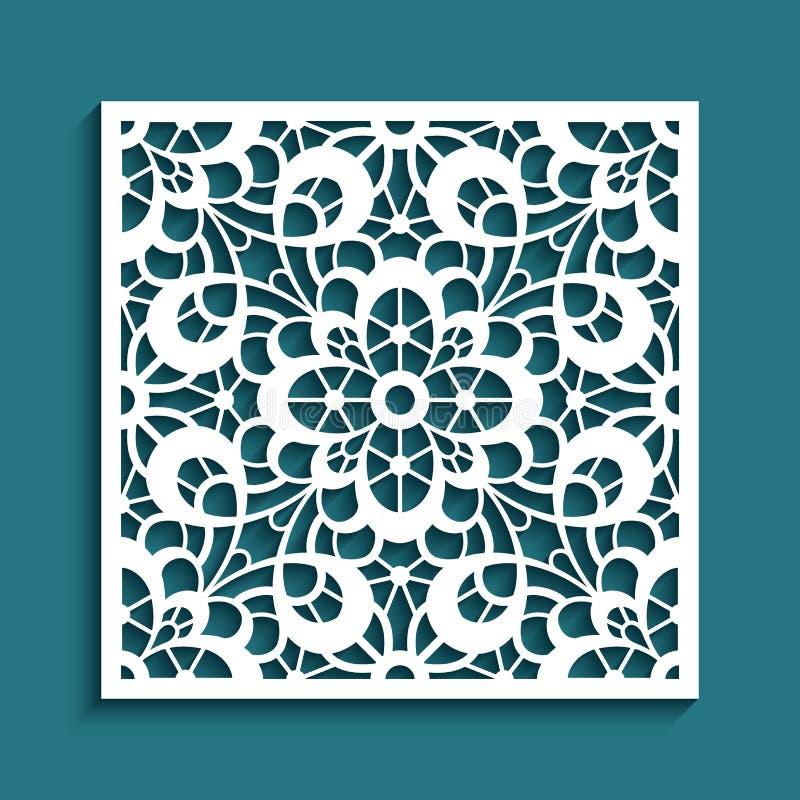 Knipseldocument paneel met golvend bloemenkantpatroon royalty-vrije illustratie