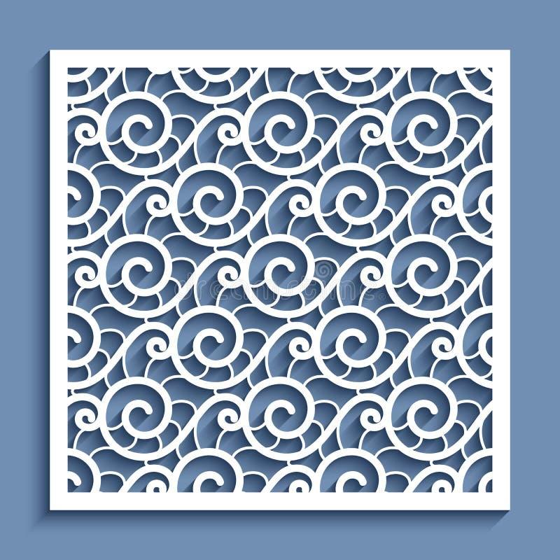 Knipseldocument paneel met golvend kantpatroon royalty-vrije illustratie