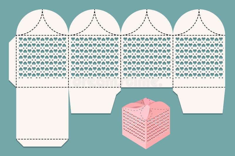 Knipseldoos Aftastenlay-out voor laserknipsel en visualisatie Giftdoos voor een gift aan gasten bij een huwelijk stock illustratie