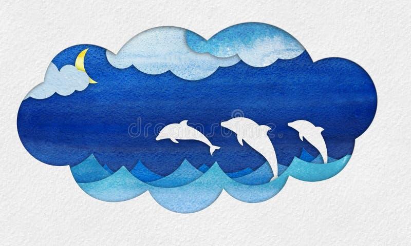 Knipselzeegezicht applique met dolfijnen vector illustratie