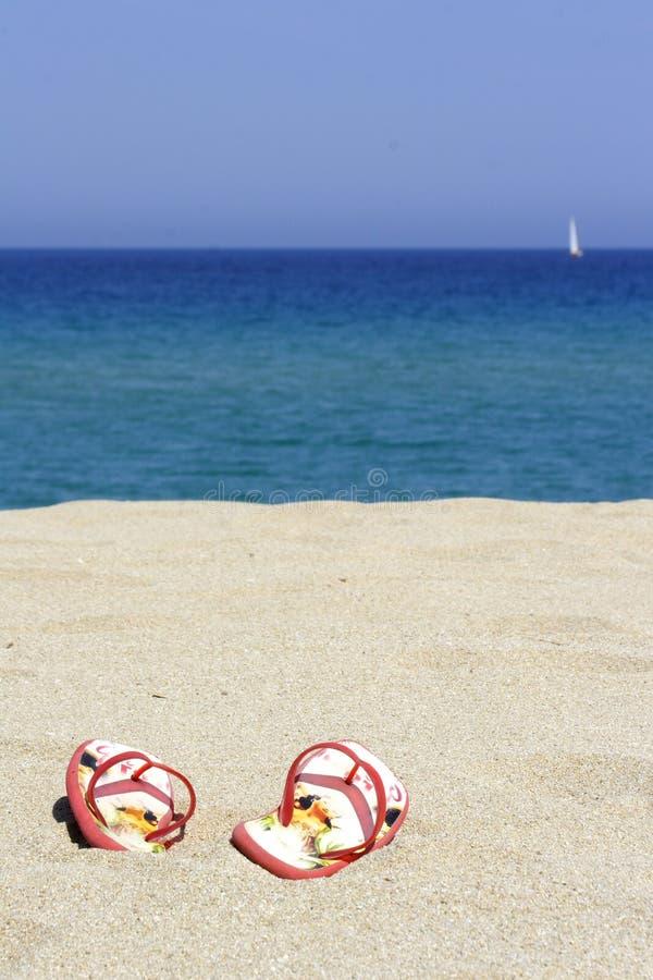 Knipt ploffen op een leeg zandig strand weg stock foto