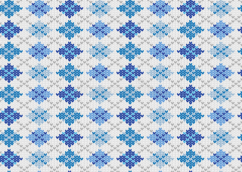 Knit background with blue geometric ornament