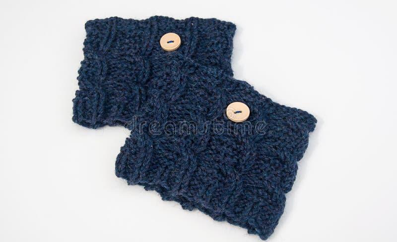 Knit blue boot cuffs modetillbehör royaltyfria foton