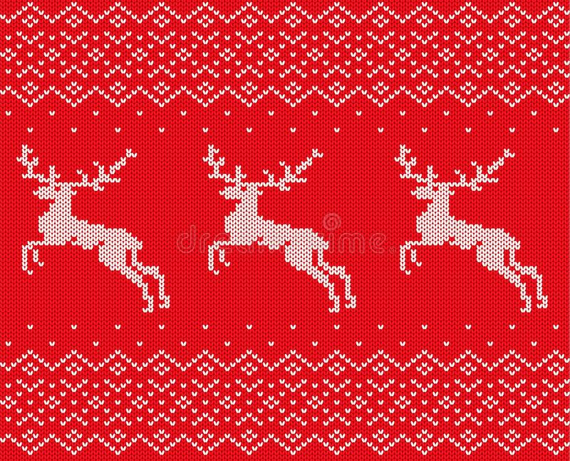 Knit christmas design with deers and ornament. Xmas seamless pattern red background. Knitted winter sweater texture. royalty free illustration