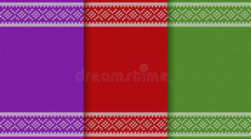 Knit Christmas seamless pattern. Knitting Christmas texture. Knit seamless pattern. Vector graphics. Xmas jumper ornaments. New year red, green and purple stock illustration