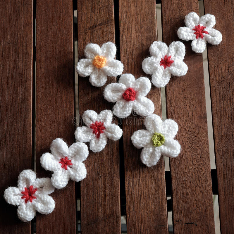 Knit daisy flower on wood background. Group of handmade product for mother day, white daisy flower on wood background, make by knit from yarn stock photos