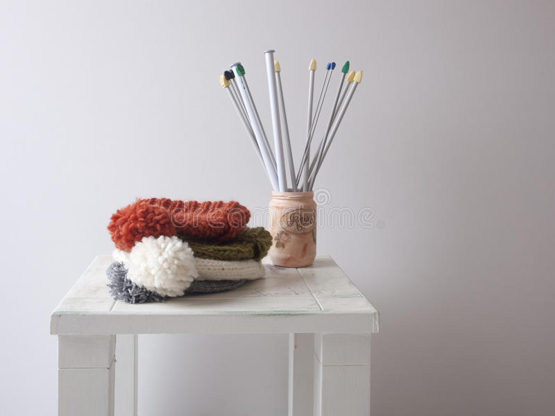 Knit hats royalty free stock photography