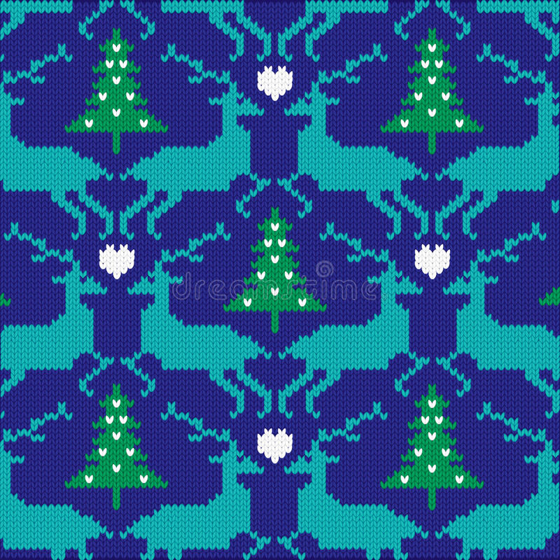 Knit nordic reindeer pattern stock photography
