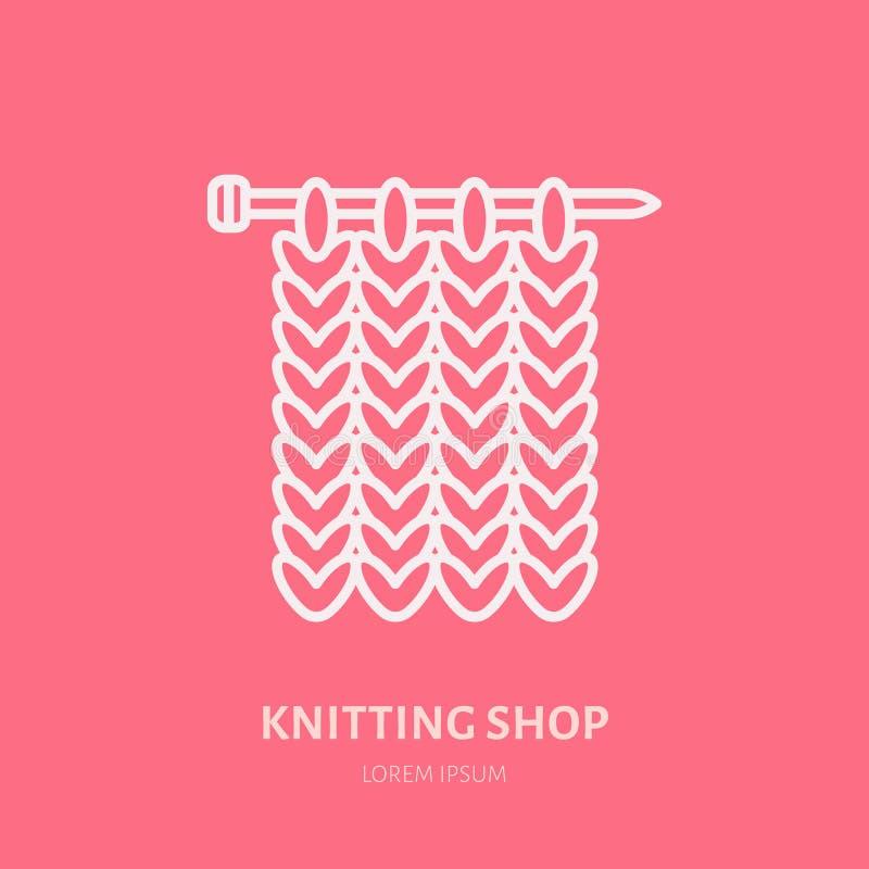 Knit shop line logo. Yarn store flat sign, illustration of knitting needles with yarn pattern.  royalty free illustration