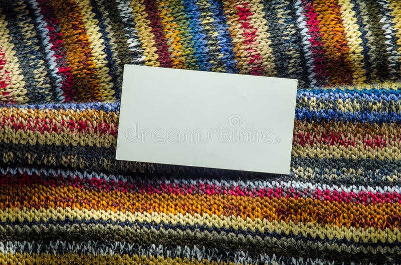 Knit Texture with White Blank Space stock photos