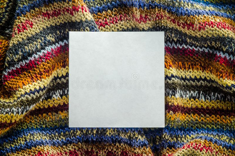 Knit Texture with White Blank Space stock photo