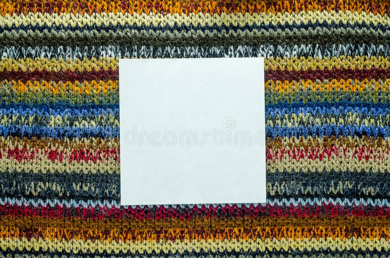 Knit Texture with White Blank Space stock photography