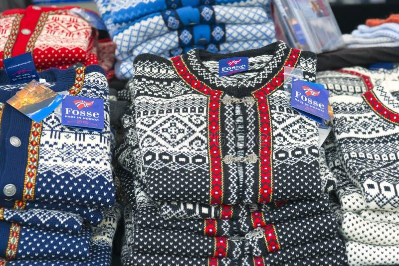 Knit-Woolen Strickjacken, Norwegen stockbild