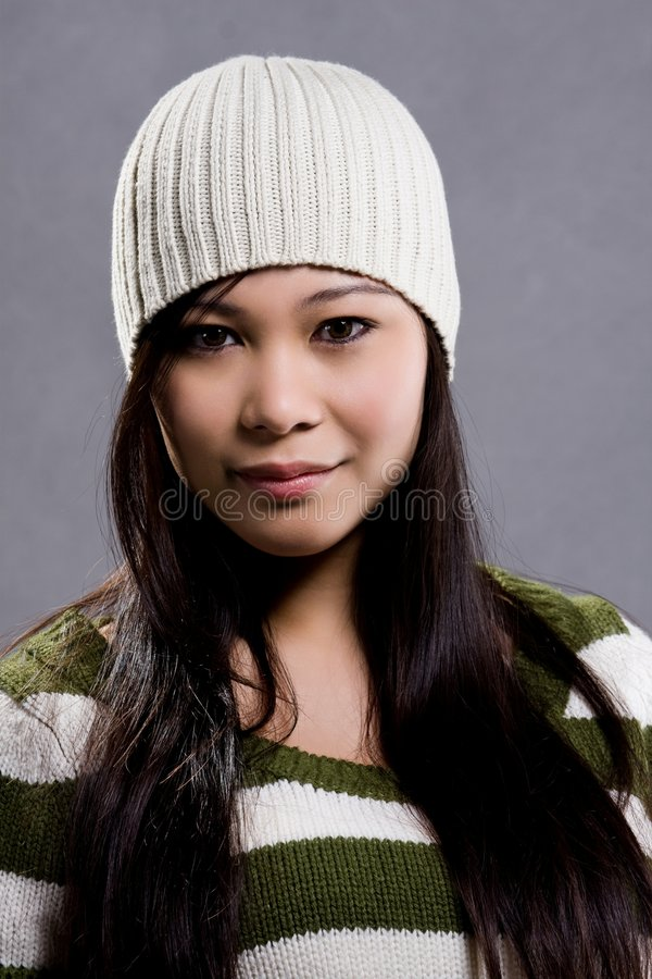 Knitted. A model wearing a knitted blouse stock images