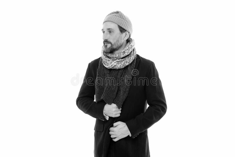 Knitted accessories. Mature man cold winter weather style. Winter collection. Man enjoy warmth and comfort. Casual coat stock photography