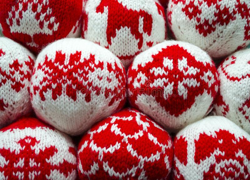 Knitted balls with ornament for new year and christmas decoration. View of knitted balls with ornament for new year and christmas decoration stock photography